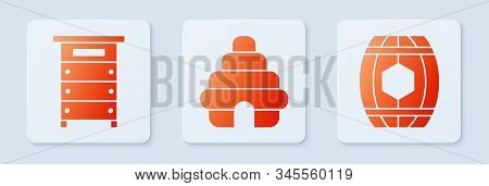 Set Hive For Bees, Hive For Bees And Wooden Barrel With Honey. White Square Button. Vector