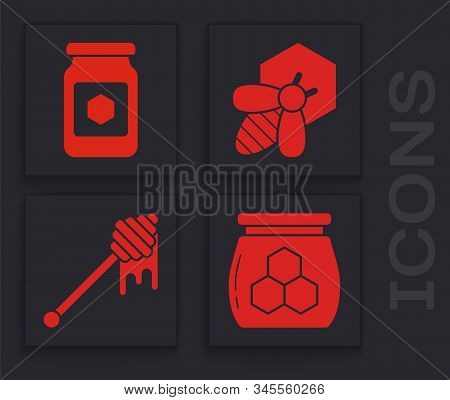 Set Jar Of Honey, Jar Of Honey, Bee And Honeycomb And Honey Dipper Stick With Dripping Honey Icon. V