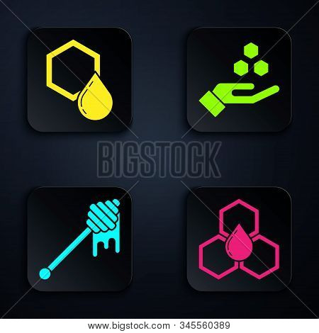 Set Honeycomb, Honeycomb, Honey Dipper Stick With Dripping Honey And Honeycomb And Hand. Black Squar