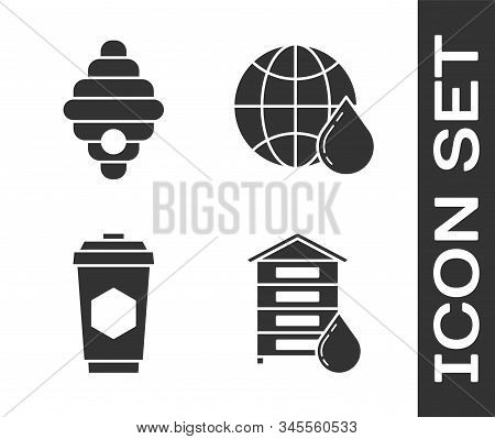 Set Hive For Bees, Hive For Bees, Cup Of Tea With Honey And Honeycomb Map Of The World Icon. Vector