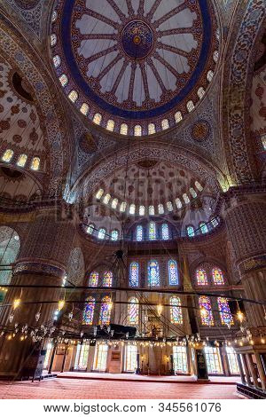 Istanbul, Turkey - Aug 18, 2015: Inside Interior Of Blue Mosque Also Known As Sultan Ahmed. Function