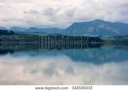 Lake Liptovska Mara In Slovakia. Wondeful Travel Destination Of High Tatras Mountain Ridge. Cloudy W