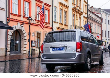 Krakow, Poland - Apr 30, 2019: American Flag On Facade Of United States Consulate General Krakow Loc