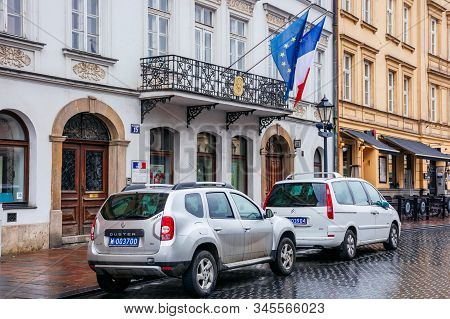 Krakow, Poland - Apr 30, 2019: France And European Union Flags On Facade Of Consulate General Of The