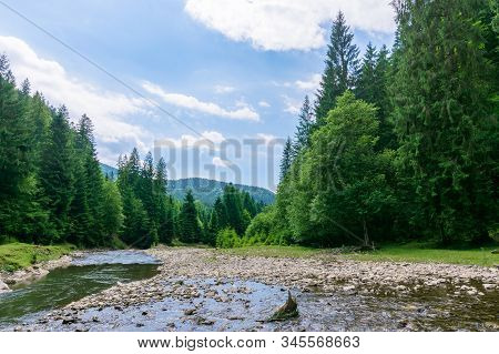 Nature Scene With Mountain River. Drying Problem, Ecology Disaster. Grassy Meadow On The Shore, Ridg