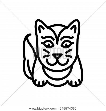 Black Line Icon For Cute Lovable Sweet Charming Likable Cat
