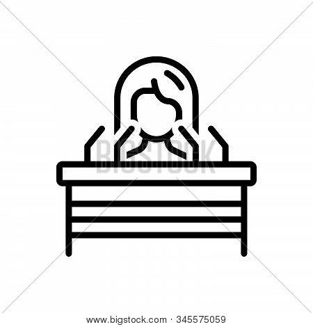 Black Line Icon For Speech Oration Harangue Recitative Remark Lady