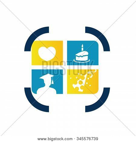 Square Frame Snapshot Photo Album Logo Vector Graphic Design