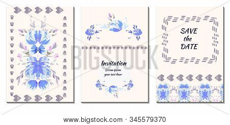Vector Set Of 3 Romantic  Abstract Flower Backgrounds In Blue And White Colors. Ideal For Wedding In