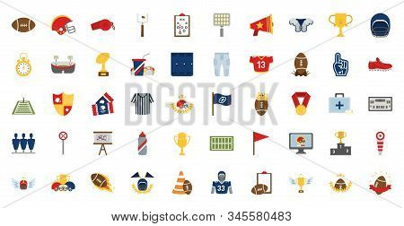 Icon Set Design, American Football Super Bowl Sport Hobby Competition Game Training Equipment Tourne