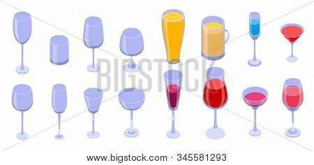 Wineglass Icons Set. Isometric Set Of Wineglass Vector Icons For Web Design Isolated On White Backgr