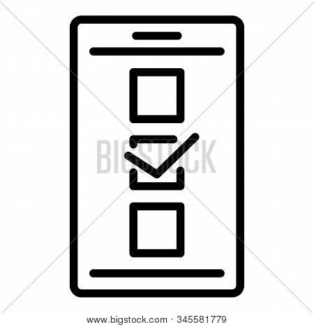 Online Smartphone Opinion Icon. Outline Online Smartphone Opinion Vector Icon For Web Design Isolate