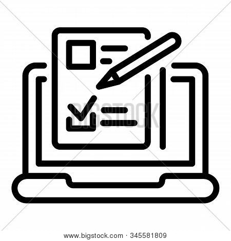 Laptop Questionnaire Icon. Outline Laptop Questionnaire Vector Icon For Web Design Isolated On White