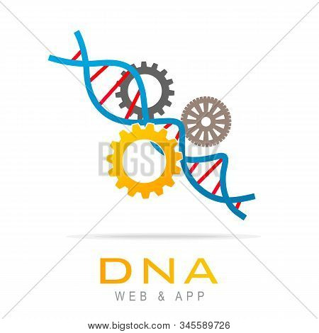 Dna Work Icon Logo Design Element, Dna Repair. Medical Health Care Logo With Dna And Cog Wheel. Vect