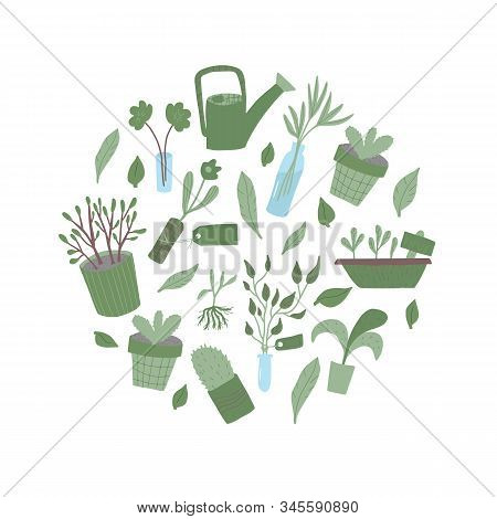 Plant Swap Emblem. Share Indoor Plants Event. Vector Flat Illustration.