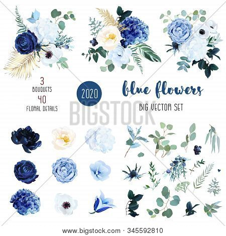 Classic Blue, White Rose, White Hydrangea, Ranunculus, Campanula, Anemone, Peony, Thistle Flowers, G
