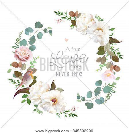 Blush Pink Antique Rose, Creamy White Peony, Pale Camellia Flowers Vector Design Spring Wedding Roun