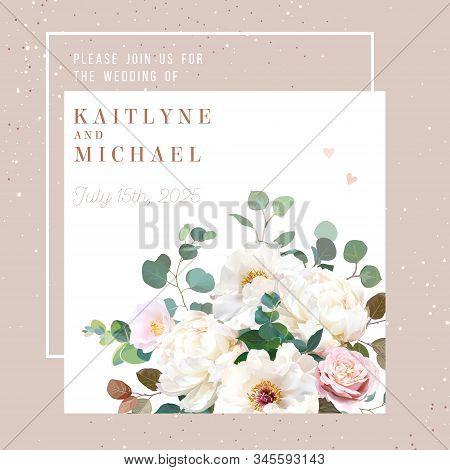 Blush Pink Antique Rose, Creamy White Peony, Pale Camellia Flowers Vector Design Spring Wedding Squa