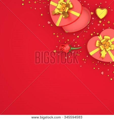 Happy Valentines Day, Valentines Day Background,rose Flower Heart Shape Gift Box , Gold Confetti Gli