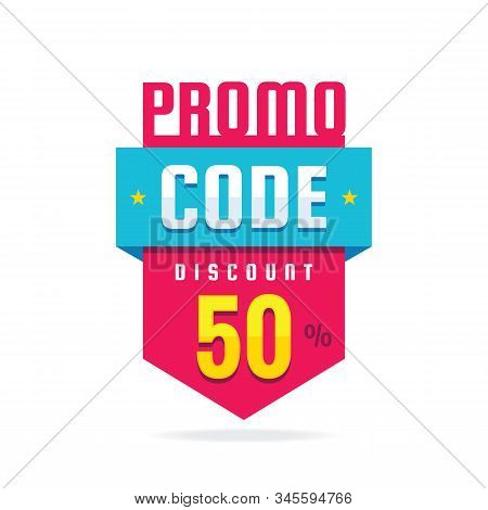 Promo Code Coupon Design. Advertising Promotion Banner For Discount 50% Off. Sale Poster.  Promo Cod