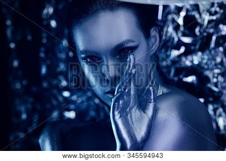 Beautiful High Fashion Avatar Girl With Make Up Portrait On A Background Of Astral Nea In Neon Light