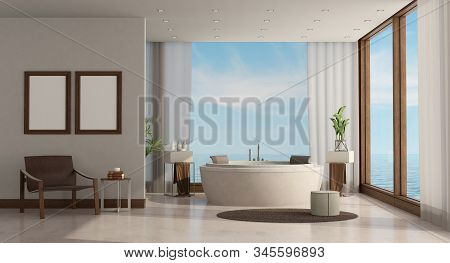 Minimalist Luxury Bathroom Of A Sea House With Round Bathtub And Leather Armchair - 3d Rendering