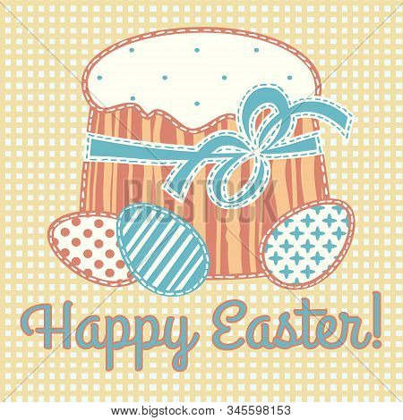 Happy Easter Card Stylized Applique On Fabric With Easter Eggs And