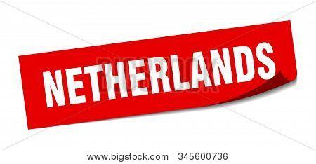 Netherlands Sticker. Netherlands Red Square Peeler Sign