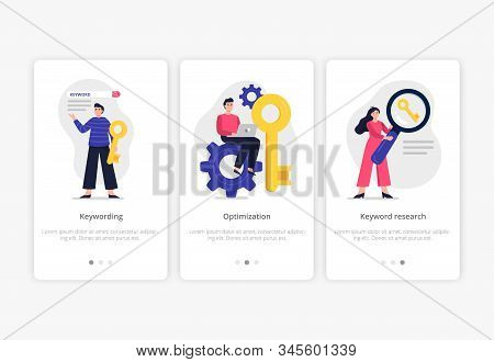 3 Search Engine Optimization Illustrations: Keywording, Optimization And Keyword Research. Web Devel