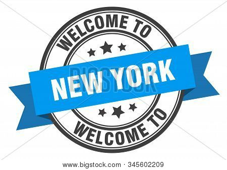 New York Stamp. Welcome To New York Blue Sign