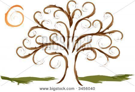 Swirly Tree With Sun
