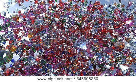 Crystals Are Scattered Over The Mirror Surface.