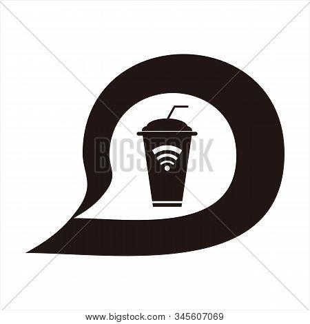 Message Icons And Plastic Cups, Simple Icons. Signal Vector Icon And Plastic Cups With White Backgro