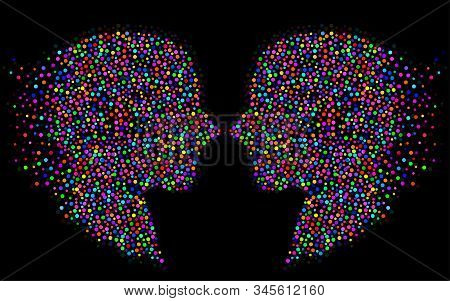 Abstract Two Silhouette Human Head With Colorful Circles, Dotted Logo