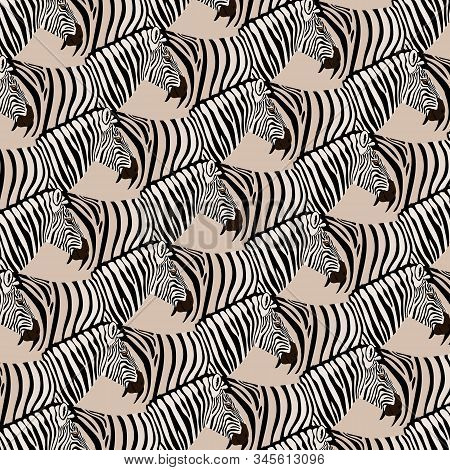 Background With A Herd Of Realistic Zebras, Tessellation. Vector Illustration Eps 10