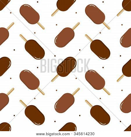 Ice Cream, Eskimo Pie And Dots Seamless Pattern Background.