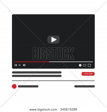 Desktop Video Player Pc Social Media Interface. Play Video Online Mock Up. Subscribe Button. Tube Wi