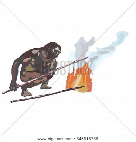 Neanderthals, Cavemen, Sitting On Stones By The, Smoking Fire, Holding Spears In Their Hands.