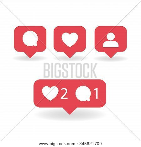 Social Media Notifications Icons. Vector Illustration. Social Media Notifications Icons.