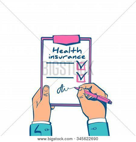 Health Insurance Claim Form Hold In Hand. Healthcare Concept. Vector Illustration Sketch Design. Lif