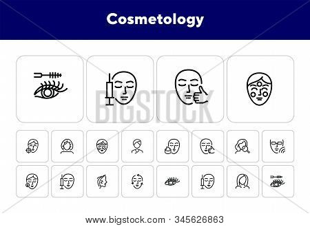 Cosmetology Line Icon Set. Botox Injection, Solarium, Mascara. Beauty Concept. Can Be Used For Topic