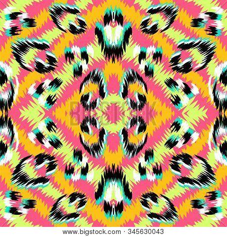 Pink Animal Fur Vector Seamless Pattern. Red Puma Exotic India Print. Yellow Leopard Fur Wild Backgr