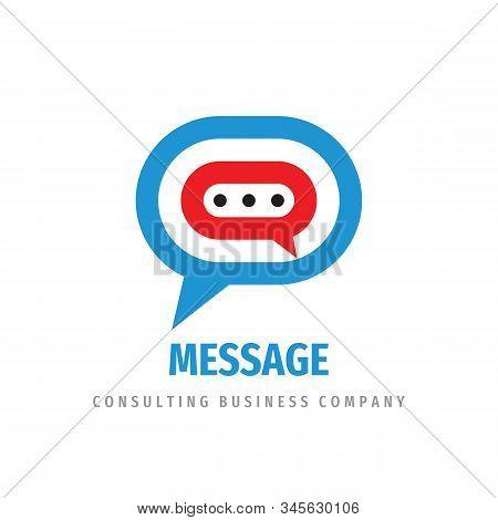 Message Logo Design. Consulting Vector Logo Sign. Speech Bubble Chat Logo Icon. Social Media Communi
