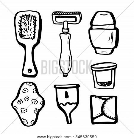 Eco Set For Girl.female Ecology Accessories In Doodle Style Isolated On White Background.zero Waste.