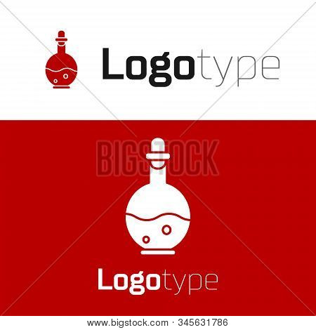 Red Glass Bottle With Magic Elixir Icon Isolated On White Background. Computer Game Asset. Logo Desi