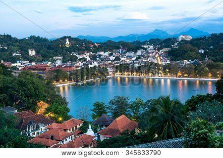 Kandy Lake And Kandy City Aerial Panoramic View From Arthurs Seat Kandy City Viewpoint, Sri Lanka
