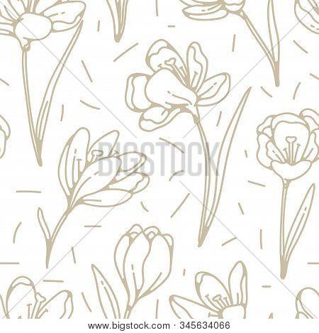 Crocus Flower Golden Seamless Pattern Spring Primroses Outline Sketch On White Background.