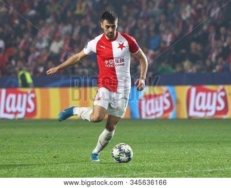 Prague, Czechia - October 23, 2019: David Hovorka Of Slavia Praha Controls A Ball During The Uefa Ch