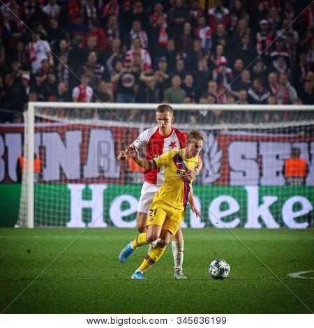 Prague, Czechia - October 23, 2019: Frenkie De Jong Of Barcelona (r) Fights For A Ball With Tomas So