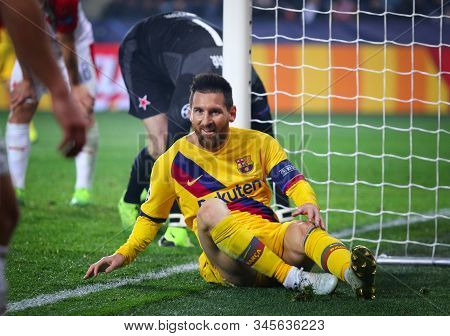 Prague, Czechia - October 23, 2019: Lionel Messi Of Barcelona Seats On A Grass During The Uefa Champ